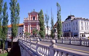 Lubiana, Tre Ponti e chiesa dell'Annunciata
