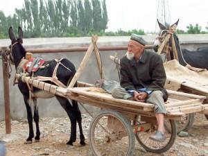 Cina, via della seta, uomo sul carretto